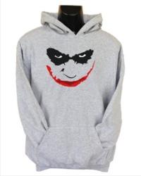 Joker Smile Mens Hoodie Grey (Small) - Cover