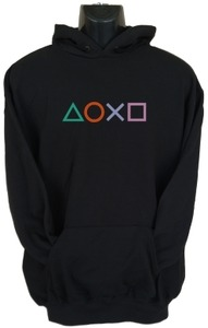 PS4 Buttons Mens Hoodie Black (X-Large) - Cover