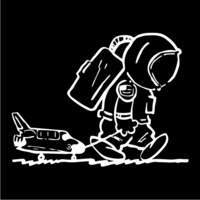 Sad Spaceman Womens Hoodie Black (Small) - Cover