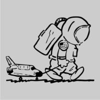 Sad Spaceman Mens Hoodie Grey (Medium) - Cover