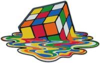 Melting Rubik's Cube Womens T-Shirt White (X-Small) - Cover
