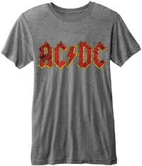 AC/DC -  Classic Logo Burnout Mens Grey T-Shirt (Medium) - Cover