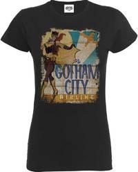 DC Comics - Batgirl Gotham City Airlines Ladies Charcoal T-Shirt (X-Large) - Cover