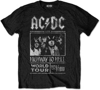 AC/DC -  Highway to Hell World Tour 1979/80 Mens Black T-Shirt (Small) - Cover