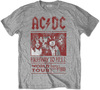 AC/DC -  Highway to Hell World Tour 1979/80 Mens Grey T-Shirt (X-Large)