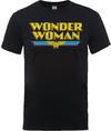 Wonder Woman Logo Crackle Mens Black T-Shirt (X-Large) Cover