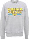Wonder Woman Logo Crackle Mens Grey Marl Sweatshirt (XX-Large)