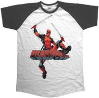 Deadpool Logo Jump Raglan Black T-Shirt (Large) - Cover