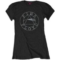 Pink Floyd Circle Logo Diamante Ladies T-Shirt - Black (XX-Large) - Cover