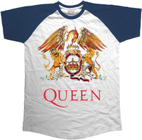 Queen Classic Crest Raglan Men's T-Shirt - Navy (Large) - Cover