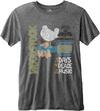 Woodstock Classic Vintage Poster Mens Charcoal Burnout T-Shirt (Large)