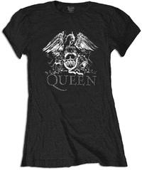 Queen Crest Logo Diamante Ladies Black T-Shirt (Large) - Cover