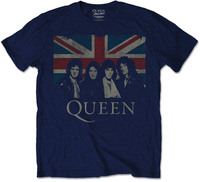Queen Vintage Union Jack Mens Navy T-Shirt (Large) - Cover