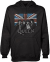 Queen Vintage Union Jack Mens Pullover Black Hoodie (X-Large)
