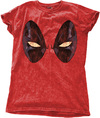 Deadpool - Eyes Ladies Snow Wash Red T-Shirt (Large)