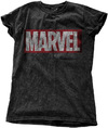 Marvel - Comics Vintage Logo Ladies Snow Wash Black T-Shirt (Large)