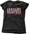 Marvel - Comics Vintage Logo Ladies Snow Wash Black T-Shirt (XX-Large)