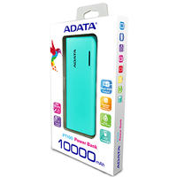 ADATA - PT100 Lithium-Ion (Li-Ion) 10000mAh Power Bank - Tiffany Blue/Magenta