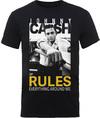 Johnny Cash Rules Everything Mens Black T-Shirt (Medium)
