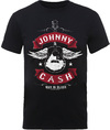 Johnny Cash Winged Guitar Mens Black T-Shirt (Large)