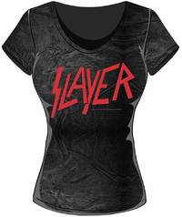 Slayer Classic Logo Acid Wash Ladies T-Shirt (Large) - Cover