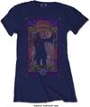 Janis Joplin - Paisley & Flowers Frame Ladies Navy T-Shirt (Large)
