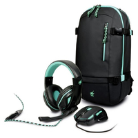 Port Designs - AROKH Gaming Bundle Pack 2 - Mouse and Headset and Backpack - Green - Cover