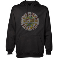 The Beatles - Sgt Pepper Mens Pullover Black Hoodie (Small) - Cover