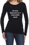 Cleverly Disguised Womens Long Sleeve T-Shirt Black (Large)