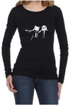 Pulp Fiction Adventure Time Womens Long Sleeve T-Shirt Black (Large)