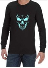 Scary Skull Face Mens Long Sleeve T-Shirt Black (X-Large)