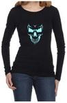 Scary Skull Face Womens Long Sleeve T-Shirt Black (Large)