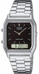 Casio Retro WR Analog and Digital Watch - Silver and Black