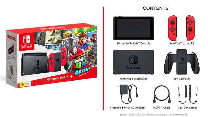 Nintendo Switch Console Super Mario Odyssey Edition Includes Limited Edition Red Joy Cons