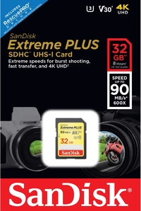 Sandisk - Extreme Plus SDHC 32 GB Class 10 UHS-I V30 Memory Card - Cover