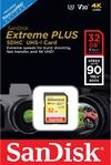 Sandisk - Extreme Plus SDHC 32 GB Class 10 UHS-I V30 Memory Card
