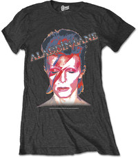 David Bowie - Aladdin Sane Ladies Black T-Shirt (Medium) - Cover