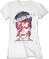 David Bowie - Aladdin Sane Ladies White T-Shirt (Medium)
