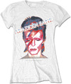David Bowie - Aladdin Sane Ladies White T-Shirt (X-Large)