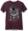 Guns N Roses - Faded Skull Mens Burnout Navy/Red T-Shirt (Small)