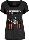 Jimi Hendrix - Peace Flag Ladies Black Scoop T-Shirt (Large)