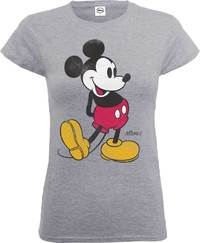 Disney - Mickey Mouse Classic Kick Ladies Grey T-Shirt (Small) - Cover