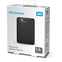 WD Elements Portable 1.5TB USB 3.0 External Hard Drive - Black