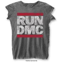 Run DMC Ladies Fashion Tee: DMC Logo with Burn Out Finishing (Large) - Cover