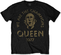 Queen - We Are the Champions Mens Black T-Shirt (Large) - Cover