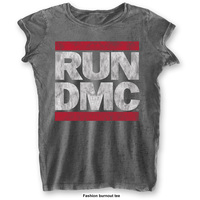 Run DMC Ladies Fashion Tee: DMC Logo with Burn Out Finishing (X-Small) - Cover