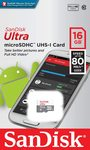 Sandisk Ultra MicroSDHC 16GB UHS-I Memory Card - Class 10