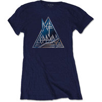 Def Leppard Triangle Logo Ladies Navy T-Shirt (Medium) - Cover
