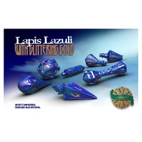 Polyhero Dice - Set of 7 Wizard Dice - Lapis Lazuli with Lightning Gold - Cover