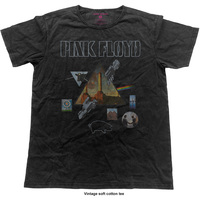 Pink Floyd Vintage Montage Mens Black T-Shirt (Medium) - Cover